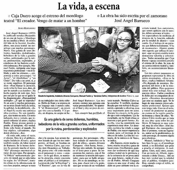LA OPINIÓN DE ZAMORA: Presentación de la obra de teatro de J.A. Barrueco, VENGO DE MATAR A UN HOMBRE, con libreto editado por CELYA.
