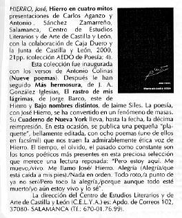LA LUCERNA: JOSÉ HIERRO en la colección aedo.