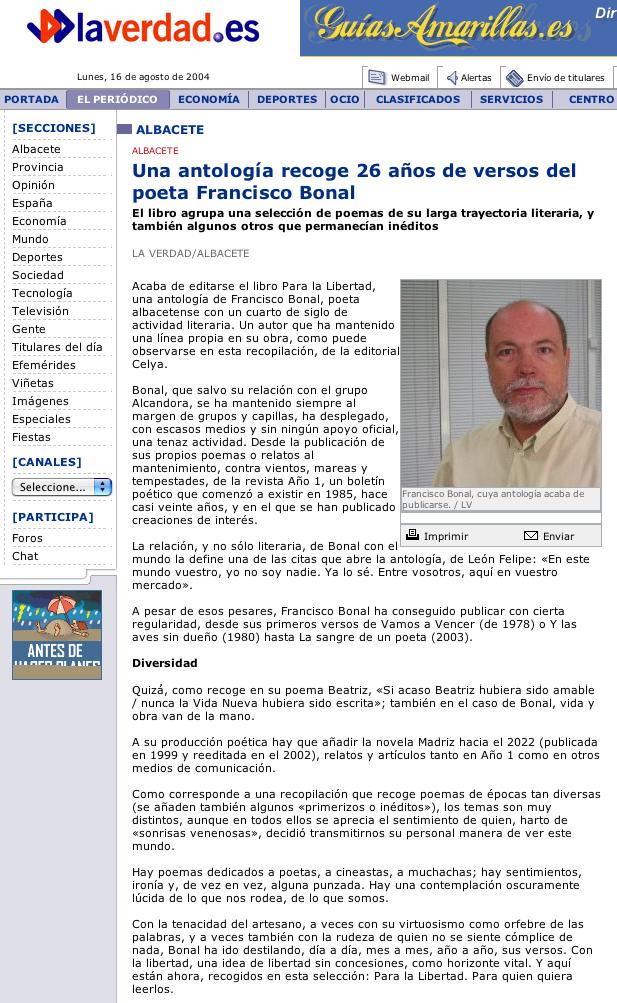 LA VERDAD -ALBACETE-: PARA LA LIBERTAD, de Francisco Bonal