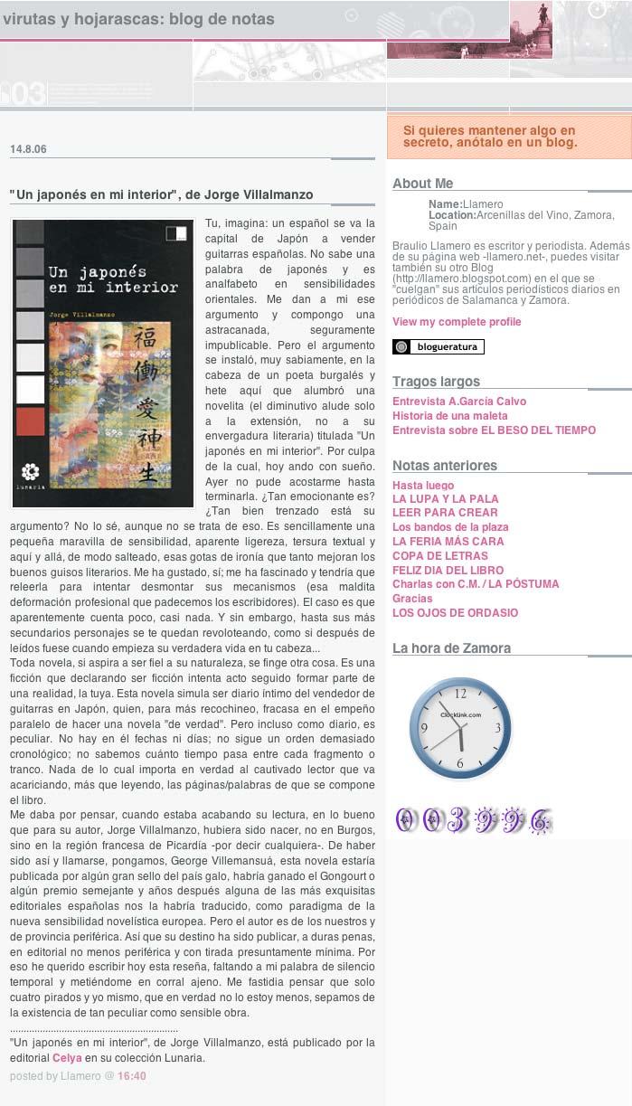 """LLAMERO.NET: """"Un japonés en mi interior"""" de Jorge Villalmanzo, por Braulio Llamero."""