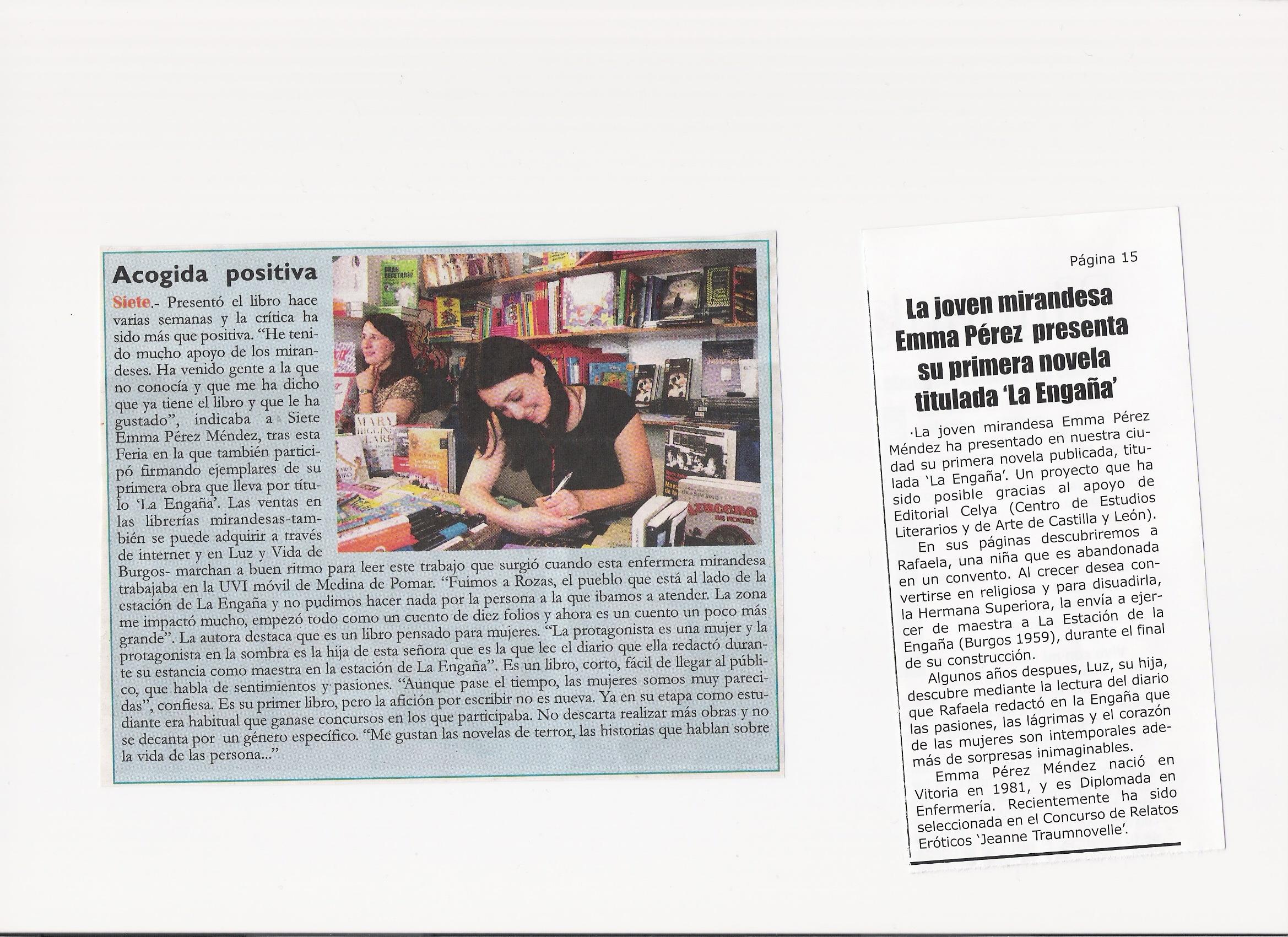 "MIRANDA SEMANAL: Emma Pérez y ""La Engaña"" en la Feria del Libro de MIranda de Ebro"