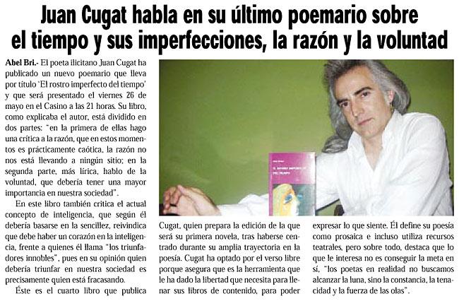"""NOTICIAS DE ELCHE: """"El rostro imperfecto del tiempo"""" de Juan Cugat, por Abel Bri."""