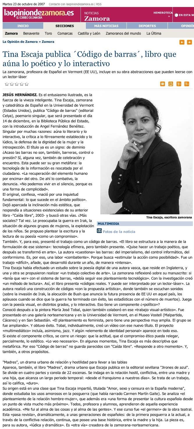 """LA OPINIÓN DE ZAMORA: Tina Escaja y el """"Código de barras""""."""