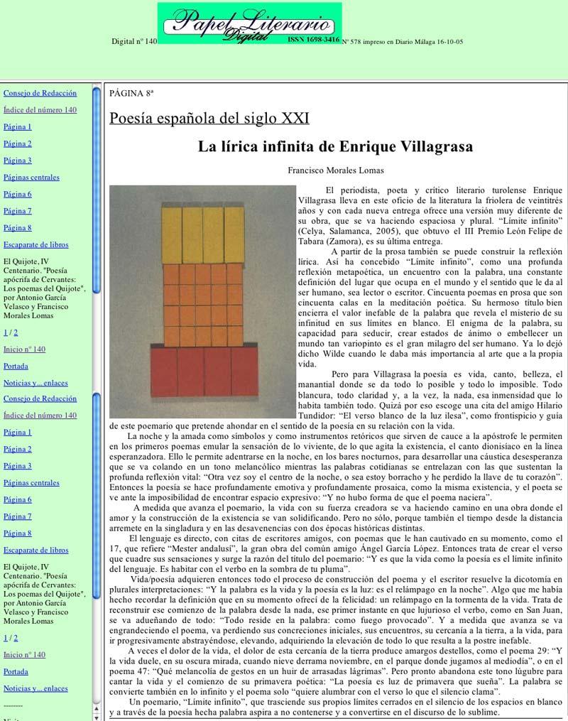 PAPEL LITERARIO DIGITAL: Límite Infinito, de E. Villagrasa, por Francisco Morales Lomas.