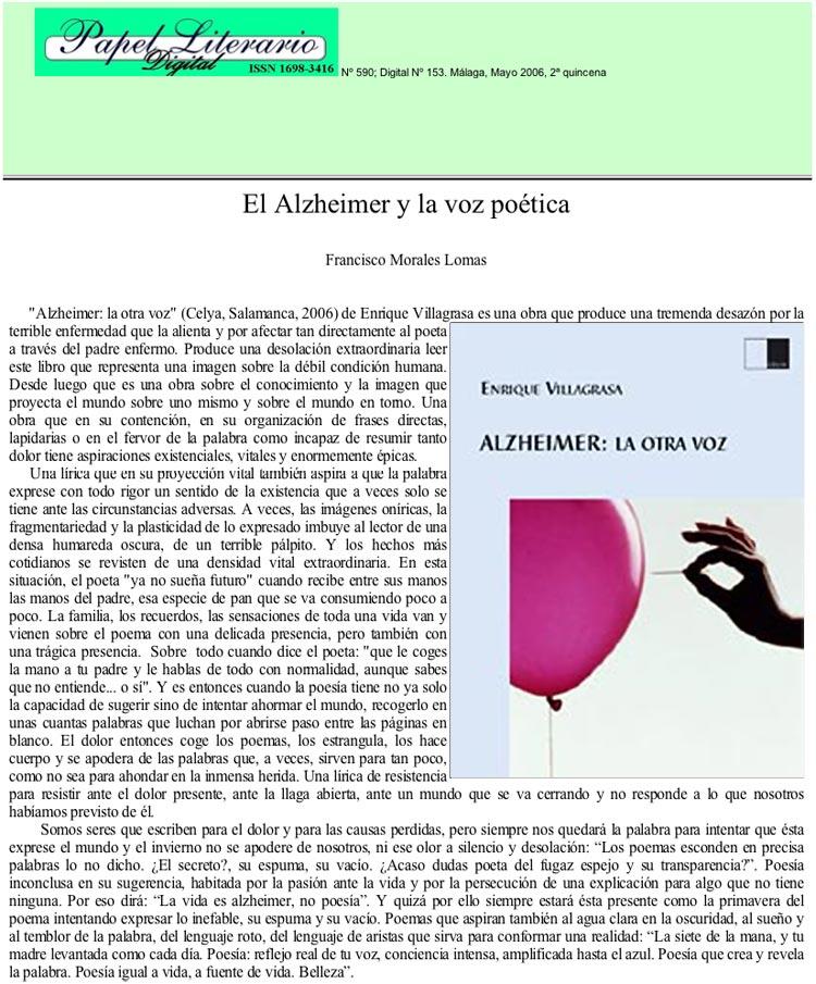 """PAPEL-LITERARIO: """"Alzheimer, la otra voz"""", de Enrique Villagrasa, por Francisco Morales Lamas."""