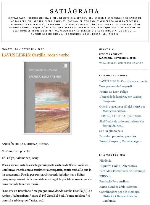 "SATIÀGRAHA: Sobre ""Castilla, roca y verbo"", de Silvano Andrés de la Morena."