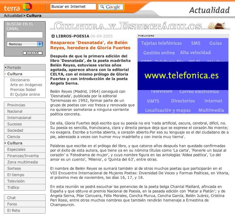 TERRA: Aparición de la segunda edición de DESNATADA, de Belén Reyes.