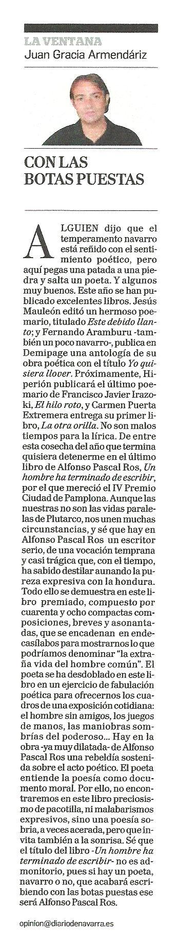 """DIARIO DE NAVARRA: """"Con las botas puestas"""", por Juan Gracia Armendáriz."""